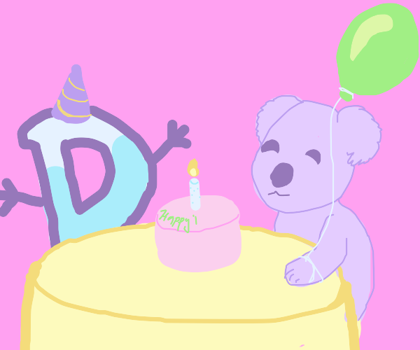 Koala celebrates Drawception's bday