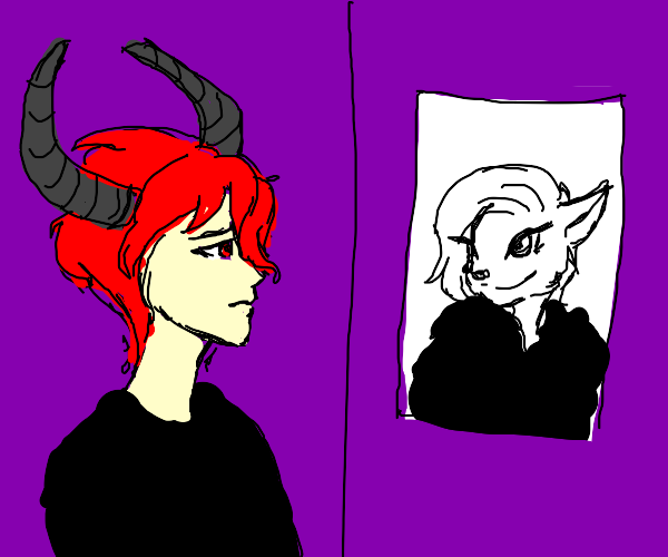 Demon looking at a poster of a furry