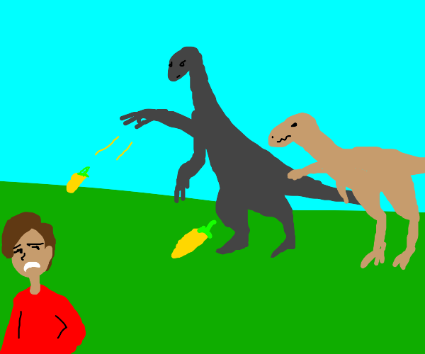 Dinosaurs throwing yellow hot peppers at man