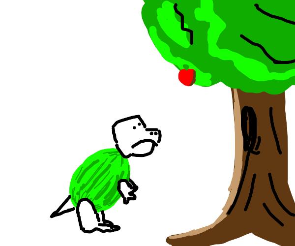 Tiny watermelon dinosaur can't reach the aple