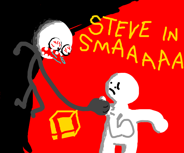 Stickman hyped about Steve in Smash