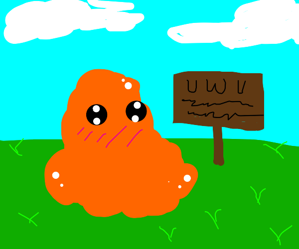 Orange blob next to sign