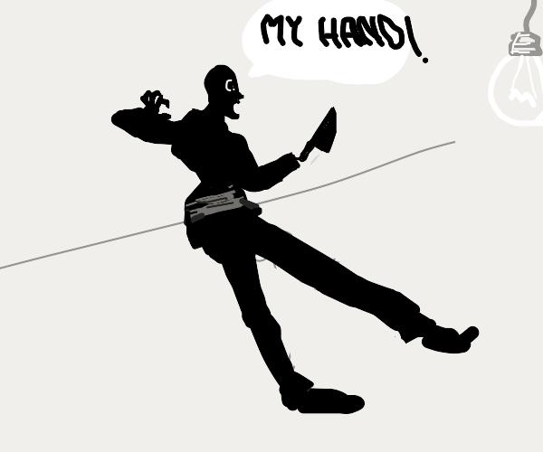 Shadow man is afraid of his knife hand