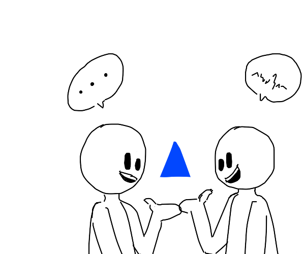 2 people talk about a blue triangle