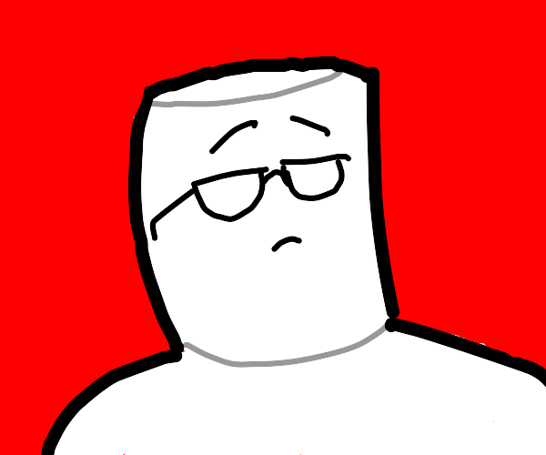 Marshmallow man with glasses.