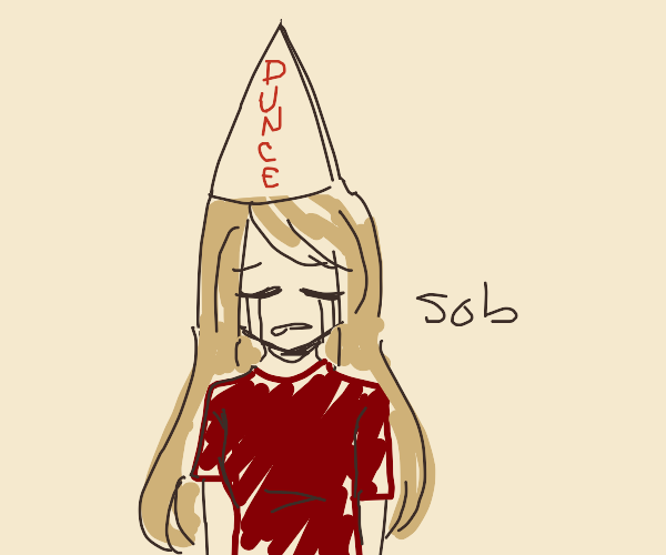 Lady Cries with a Dunce Hat