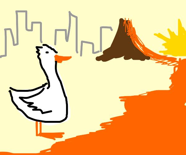 goose next to lava river in sunset w/ city