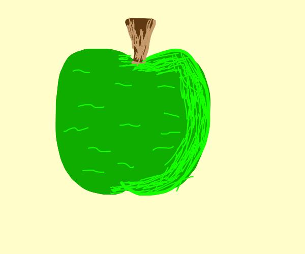 green wrinkled apple