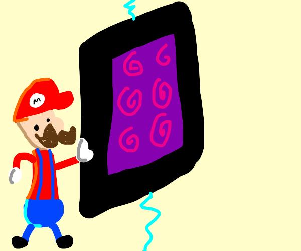 Mario next to minecraft portal