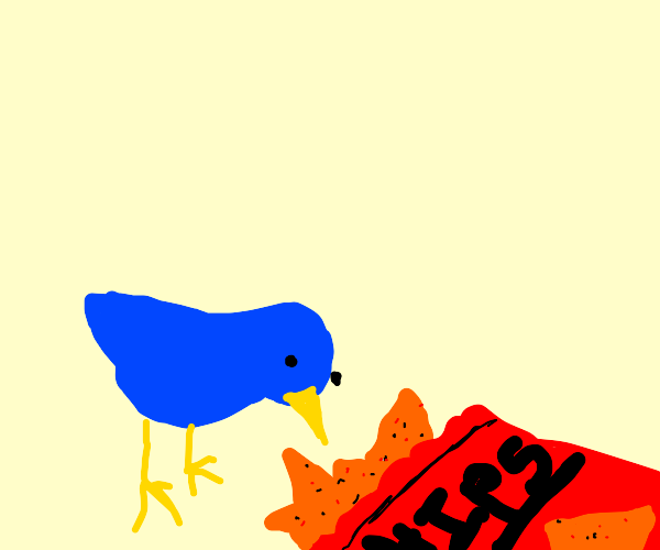 santa blue bird eating crisps