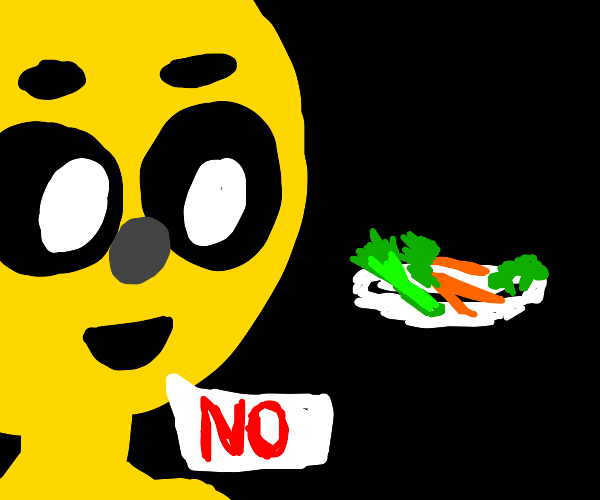 Smiley face says no to veggies