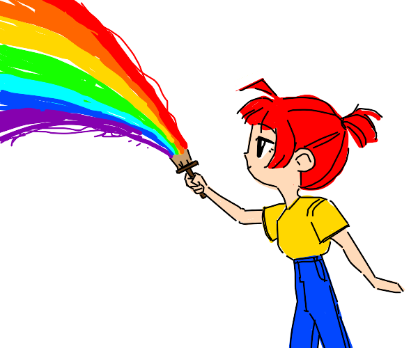 Person painting a rainbow