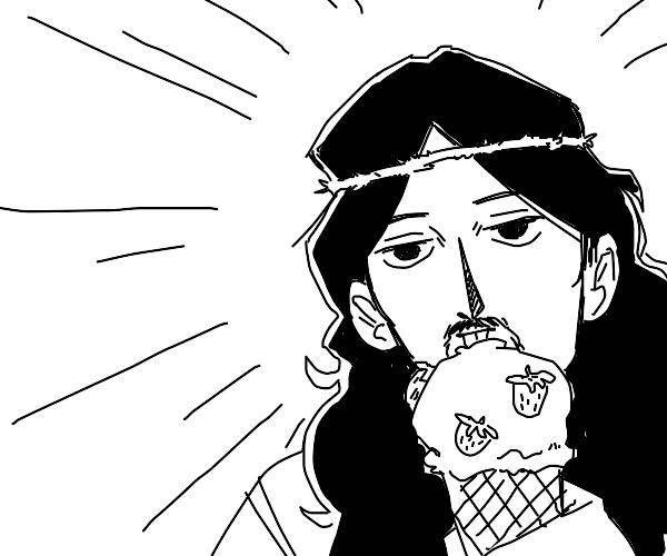 jesus eating strawberry icecream