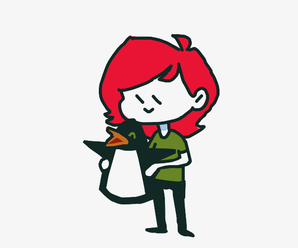 Redhead with penguin