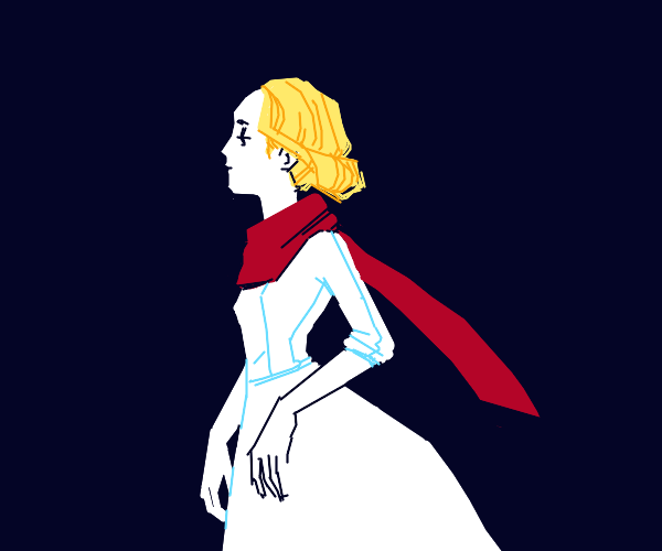 Sad blonde in white gown & red scarf