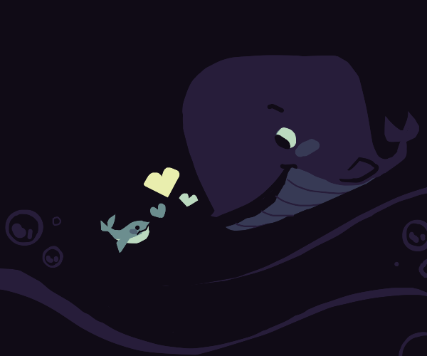 a blue whale falls in love with green fish