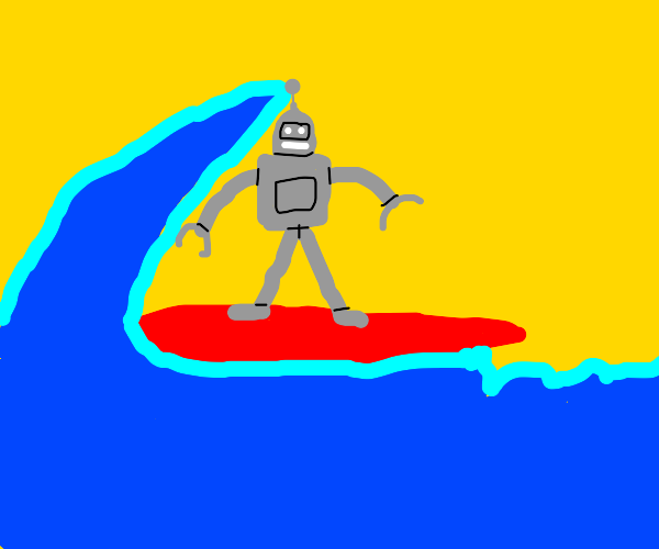 robot surfin' on a wave