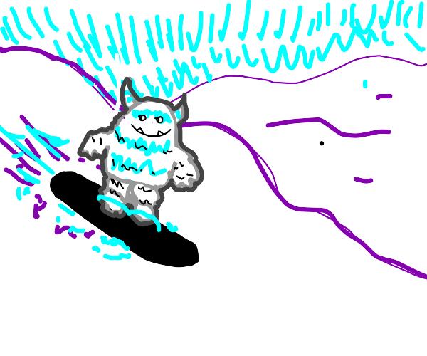 a yeti snowboarding