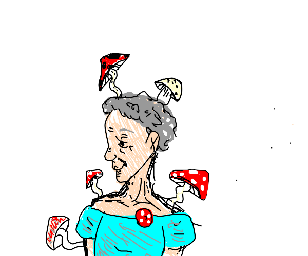 old lady with mushrooms growing all over her