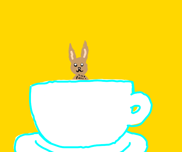 Rabbit Sitting In a Large Teacup