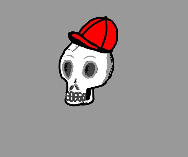 skull wearing hat