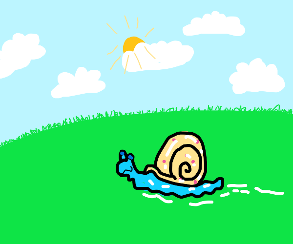 Snail on a partly cloudy day