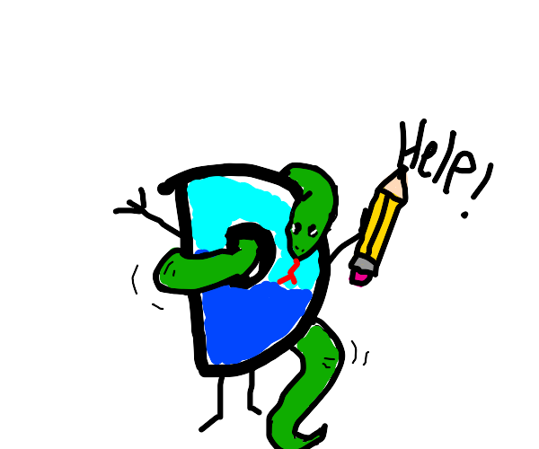 A Snake Attacking The Drawception Mascot