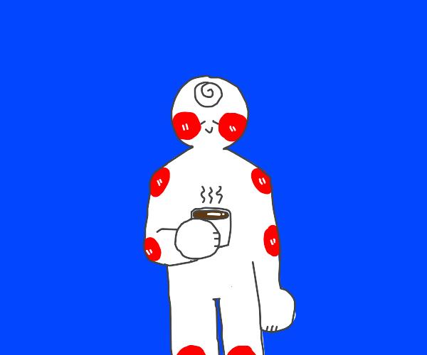 Enjoying a nice cup of coffee