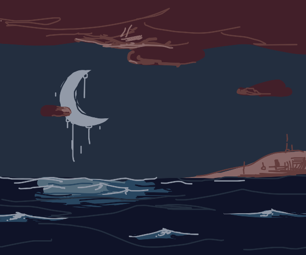 a stormy sea with a shining moon