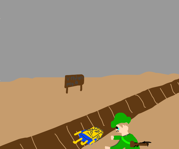 WW1 soldier burying Bob in a trench
