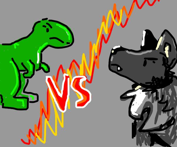 T-Rex vs wolf
