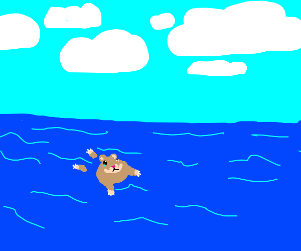 brown hamster in the middle of the ocean