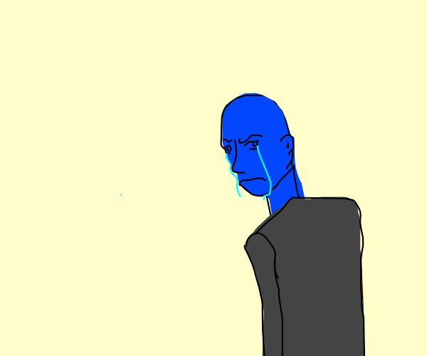 Sad blue man
