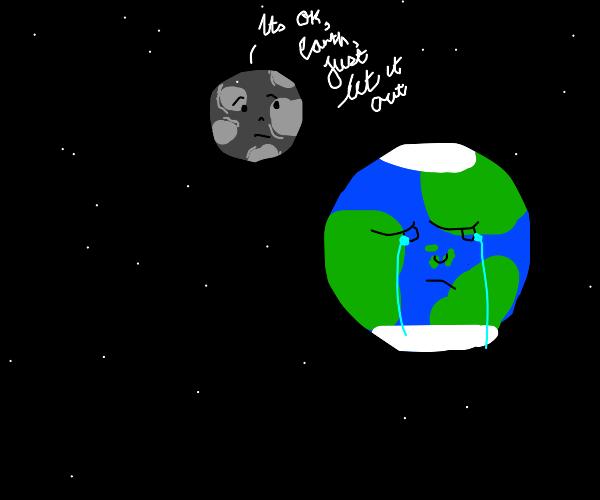 The moon cheering up sad earth
