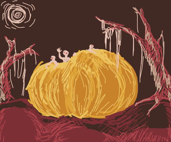 people hang out inside giant pumpkin in swamp