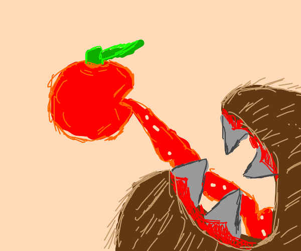 Tomato's innards spilling into a maw