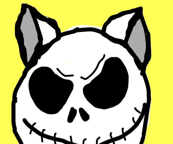 jack skeleton with cat ears on