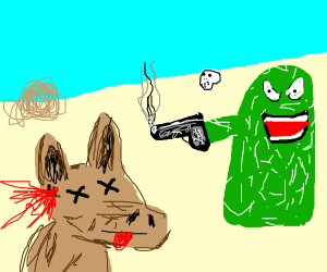 dingo killed by cacti in desert
