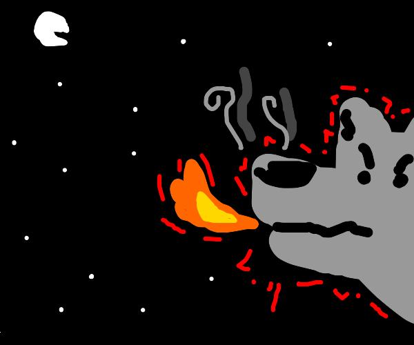 Fire breathing wolf