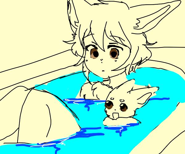 Eevee in a bathtub