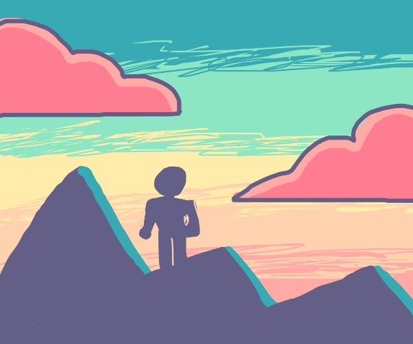 Giant on a mountain during sunset