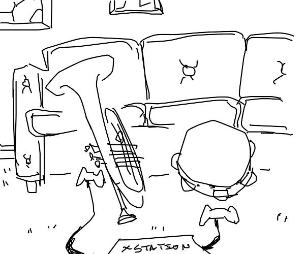 Trumpet and tambourine players