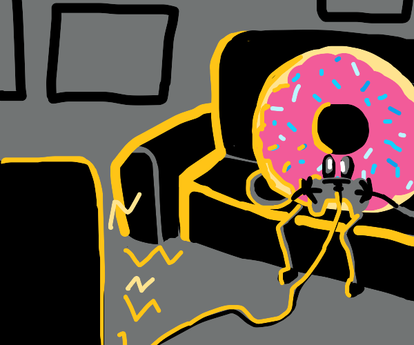 Donut playing video games