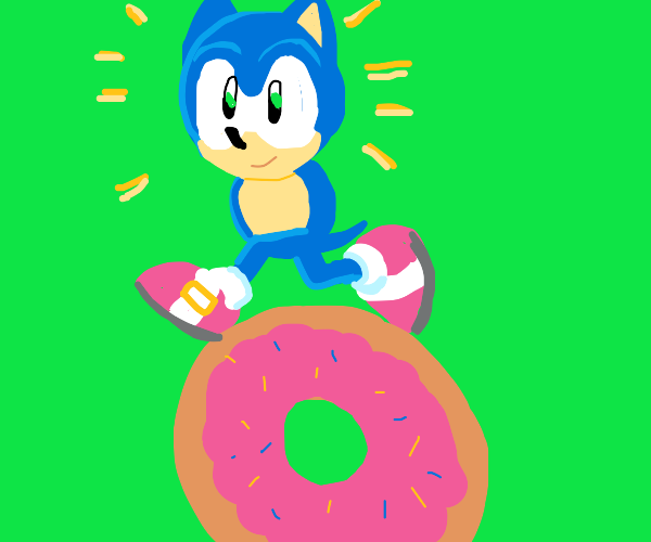Sonic with no spikes & no arms run on donuts