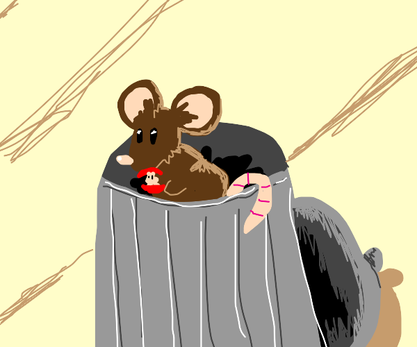 Mouse eating from a trashcan