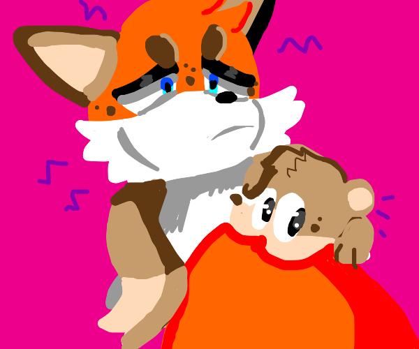 fox wears weasel scarf