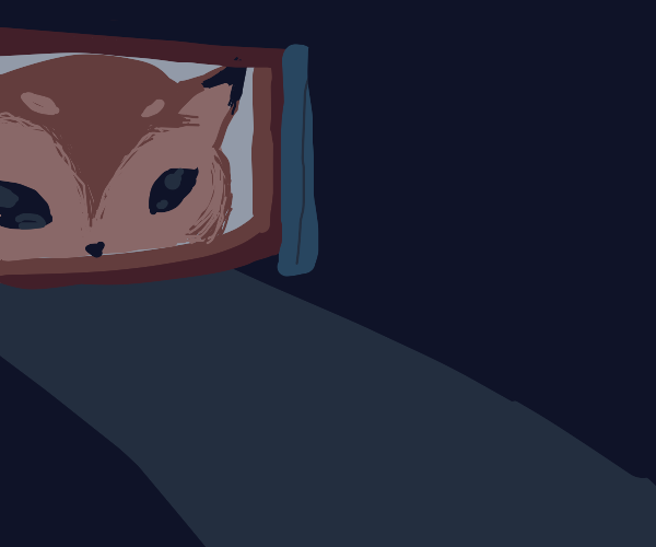 Giant Fox stares through the window