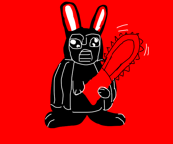 Darth Rabbit Vader with a chainsaw