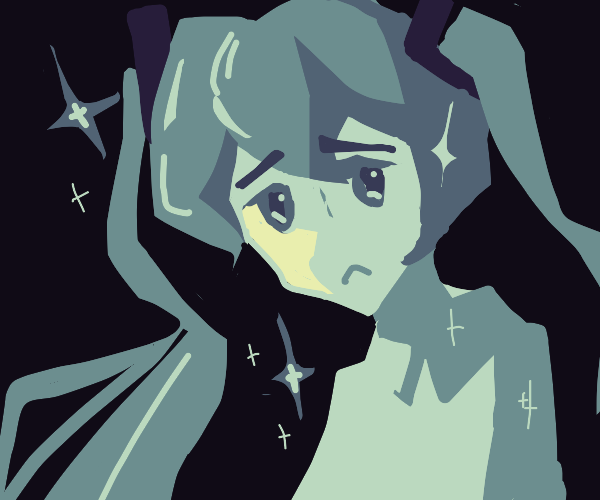 Vocaloid gazes sadly while sparkling