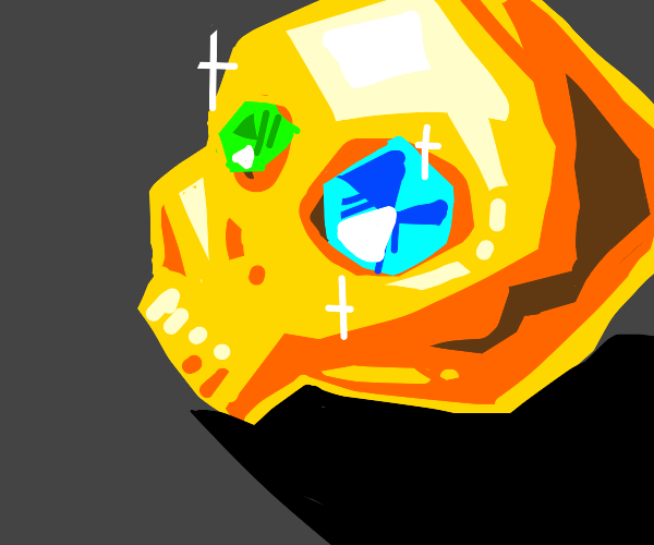 gold skull with gems as eyes